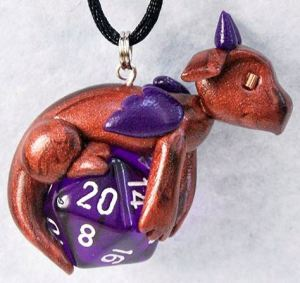 Curious Bronze Purple d20 Pendant