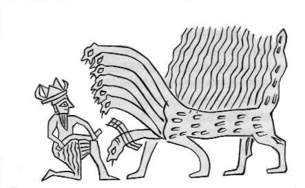 Ninurta vs 7-Headed Dragon (Mesoptamian Art 2800 BCE)