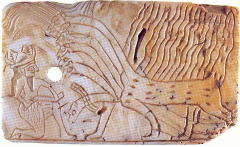 Ninurta vs 7-Headed Dragon (Original) (Mesoptamian Art 2800 BCE)