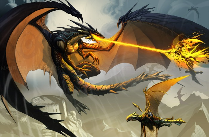 dragon_in_battle_by_el_grimlock