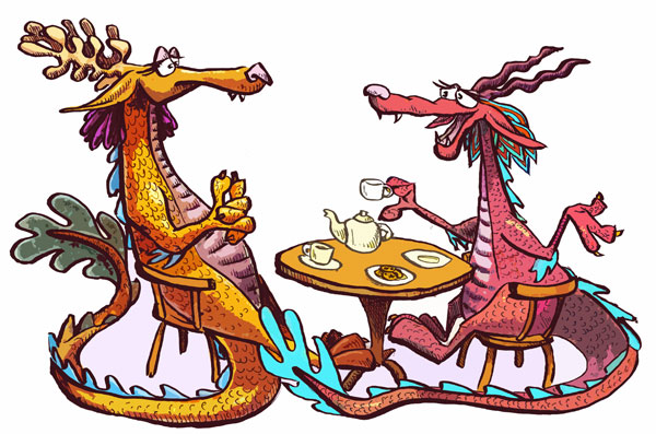 Dragons at Cafe by Jason Pym