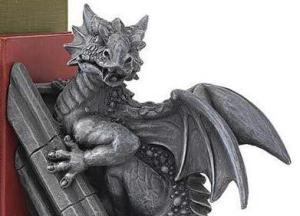 Gothic Castle Dragons Sculptural Bookends at Design Toscano (detail 1)