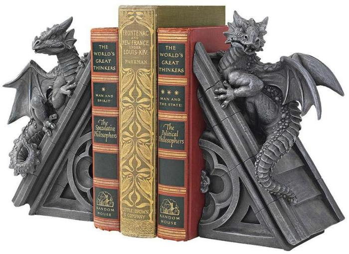 Gothic Castle Dragons Sculptural Bookends at Design Toscano