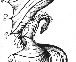 Tribal Dragon Tattoo by Leahriel (detail)