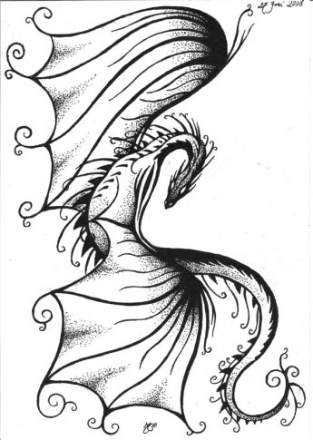 Tribal Dragon Tattoo by Leahriel