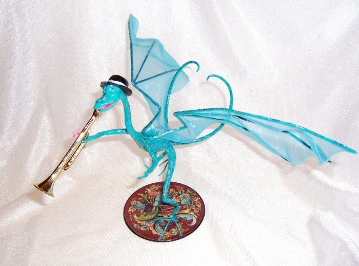 Turquoise Dragon Playing a Trumpet by Deb Salisbury 1