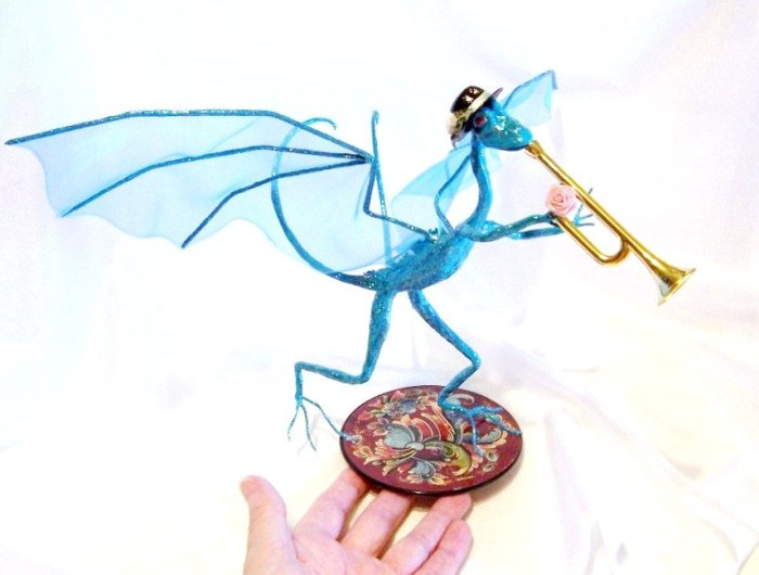 Turquoise Dragon Playing a Trumpet by Deb Salisbury 2