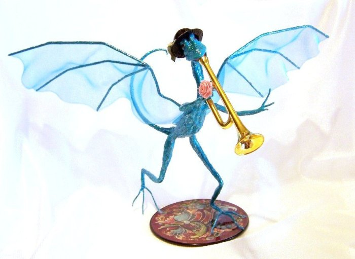 Turquoise Dragon Playing a Trumpet by Deb Salisbury 3