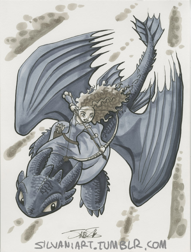 Merida and Toothless by James Silvania
