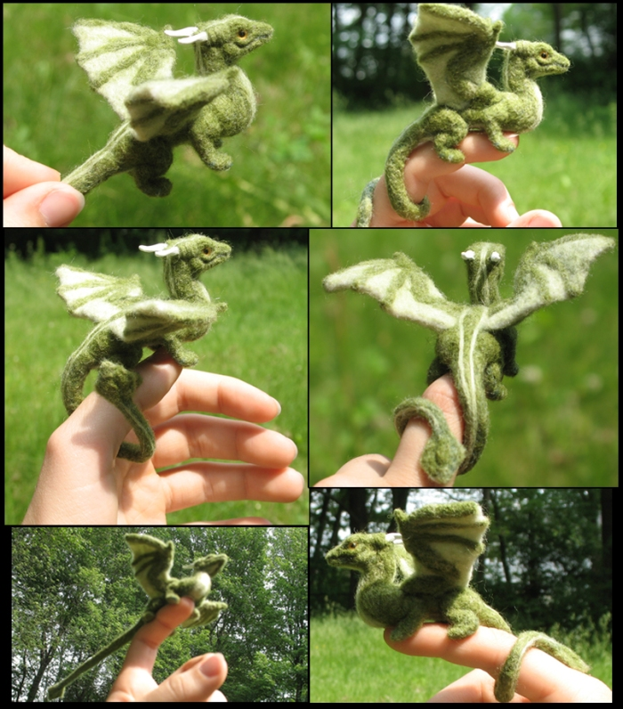 felted_green_dragon_collage_by_tallydragon