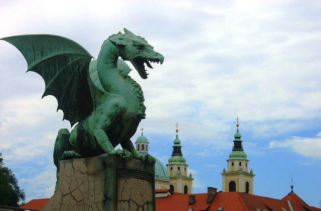 Dragon on Ljubljana Bridge by Victoria Reay