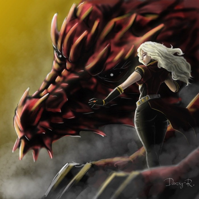 Rhaenys and Meraxes by charrendark