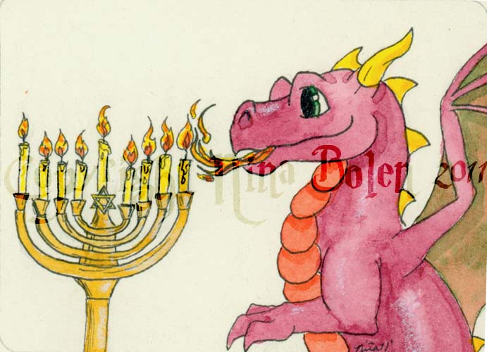 Hanukkah Dragon ACEO by The-GoblinQueen