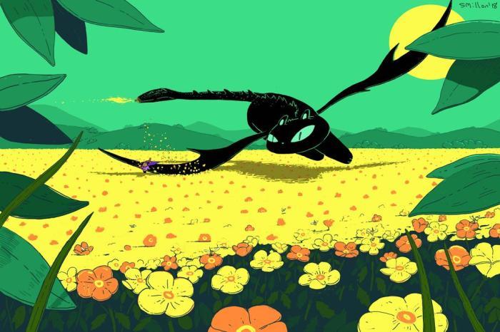 cat_dragon_flying_over_flower_field_by_sebreg